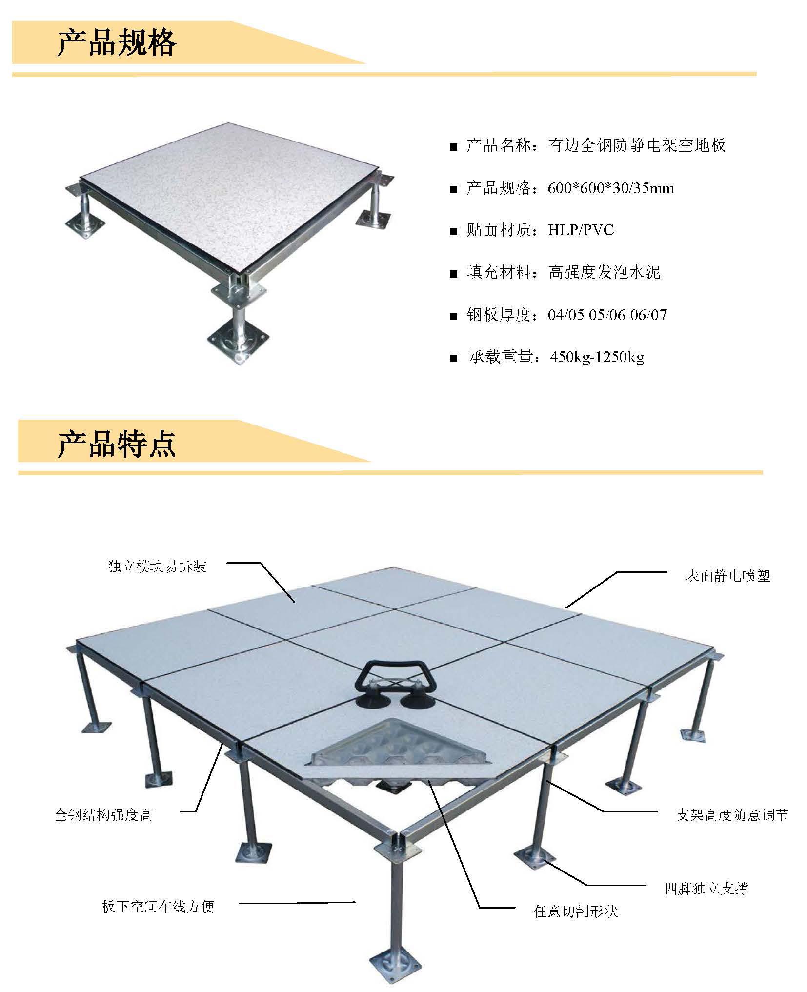 架空床_上海珂润达有边全钢防静电架空地板